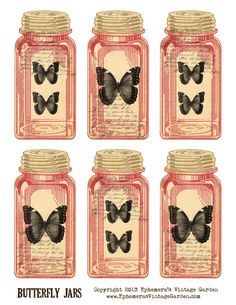 Ephemera's Vintage Garden: Free Printable - Butterfly Jar Tags