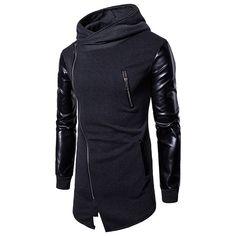 Mens Stitching Leather Fashion Hooded Tops Zip Up Casual Hoodies Hoodie Sweatshirts, Fashion Male, Mens Fashion, Leather Fashion, Fashion Vest, Fashion Hoodies, Style Fashion, Latest Fashion, Long Hoodie