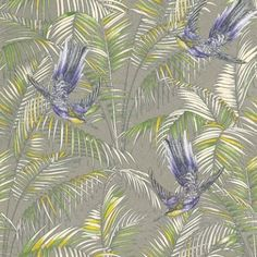 Sunbird+(W6543-01)+-+Matthew+Williamson+Wallpapers+-+An+exotic+bird+of+paradise+with+boldly+coloured+leaves,+darting+through+a+leaf+jungle+background.++Shown+in+the++metallic+purple,+electric+blue+and+green+on+a+silver+background.+Please+request+a+sample+for+true+colour+match.