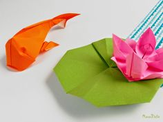 Origami koi fish and lily flower #origami #koifish #flower