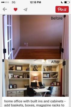 turn wall into shelving/desk