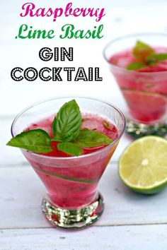 Raspberry Lime Basil Gin Cocktail -A tasty and refreshing gin cocktail bursting with so much flavor from all the natural and fresh ingredients.