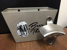 $13.50 - Brushed Stainless Steel Wall Mounted Bottle Opener & Beer Thirty Cap Catcher #BarwareGear