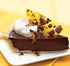 Dark Chocolate Pie with Cocoa Nib Praline Recipe - Bon Appétit Chocolate Filling, Chocolate Desserts, Praline Chocolate, Choco Pie, Baking Chocolate, Chocolate Heaven, Chocolate Cream, Chocolate Pudding, Cake Chocolate