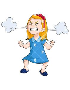 A Little Girl With An Angry Face And Steam Clouds Billowing From Her Ears: Royalty-free vector clipart of a little girl with an angry face and steam clouds billowing from her ears. Angry Little Girls, Angry Baby, Angry Girl, Angry Child, Angry Cartoon, Cartoon Pics, Girl Cartoon, Kid Character, Character Drawing
