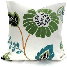 Green, Blue and Turquoise Floral Decorative Pillow Cover, 18x18, 20x20, 22x22, 14x20 or 12x24. $45.00, via Etsy.