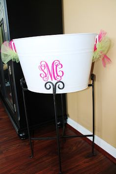 Monogrammed Beverage Bucket for the Monograms and Margaritas Bridal Shower