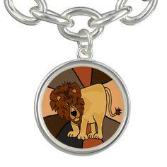 Cute Lion Art Charm Bracelet #lions #animals #charms #bracelets And www.zazzle.com/naturesmiles*