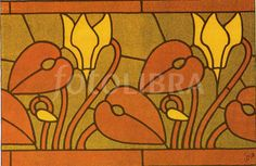 Art Nouveau Stained Glass repeat pattern.- Fotolibra