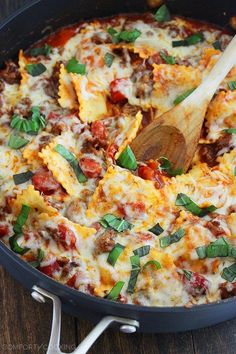 The Comfort of Cooking » Cheesy Ravioli and Italian Sausage Skillet