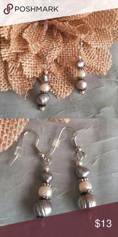 "Freshwater Pearl Earrings Genuine black, white and gray fresh water pearl earrings. 1.5"" drop. Handmade in USA. A Little Bit of Sass Jewelry Earrings"