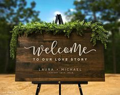 Love Story Wedding Welcome Wedding Sign Rustic Wood Sign Rustic Wedding Wedding Signage Wedding Name Sign Established Date Sign (GP1297)