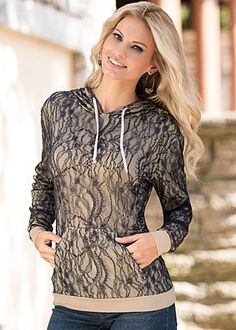 Lace hoodie by VENUS available in sizes XS - XL Cute and Comfy!