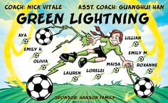 Green Lightning B53765  digitally printed vinyl soccer sports team banner. Made in the USA and shipped fast by BannersUSA.  You can easily create a similar banner using our Live Designer where you can manipulate ALL of the elements of ANY template.  You can change colors, add/change/remove text and graphics and resize the elements of your design, making it completely your own creation.