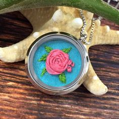 Ribbon rose necklace. Hand embroidery