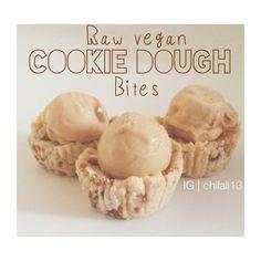 Raw Vegan Cookie Dough Bites - coconut flour, dates, nuts, coconut oil, cacao, spices #raw #vegan #paleo