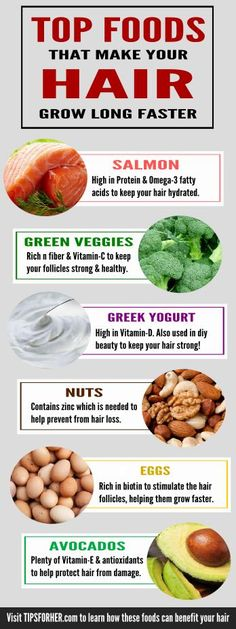 These foods are rich in vitamins & nutrients and are great for protecting, & strengthening the follicles while helping your hair to grow long faster.