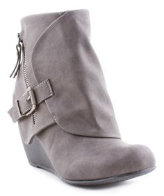 Gray Flap Wedge Ankle Boot Wedge Ankle Boots, Wedge Heels, Bootie Boots, Blowfish Shoes, Grey Booties, Fashion Forward, Wedges, Booty, How To Wear