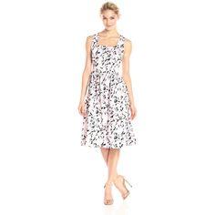 Helene Berman Women's Floral Sun Dress ($220) ❤ liked on Polyvore featuring dresses, white dress, flare dress, floral dress, sundress dresses and knee-length dresses