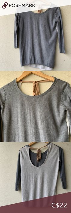 Lovely Aritzia Babaton sweater Darker grey on front, lighter shade on back. Lower cut on back with sweet silky tie. This sweater is so pretty! Label cut out, but I'd say it's probably a small. Has small hole at back near bottom of sweater. Babaton Sweaters Crew & Scoop Necks Mustard Sweater, Yellow Sweater, Grey Sweater, Long Sweaters, Black Sweaters, Sweaters For Women, Cashmere Hoodie, Cashmere Sweaters