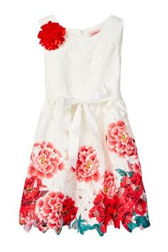 Paulinie Embroidered Floral Cutout Dress (Toddler, Little Girls,