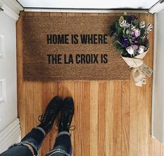 Not in stock/Made to order- Home Is Where The La Croix Is doormat, outdoor mat, doormats, la croix, home and living, 18x30