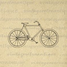 Vintage Bicycle Graphic Digital Download Bike Image Illustration Printable Antique Clip Art. High resolution digital image graphic from vintage artwork for transfers, printing, papercrafts, tote bags, and more. This digital image is high quality, large at 8½ x 11 inches. Transparent background version included with every graphic.