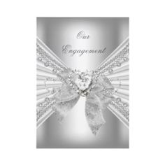 ALL WHITE engagement party invitations.