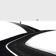 Hossein Zare ist besonders durch seine Reihe an minimalistischen Schwarz-Weiß-Bildern aufgefallen. Auf das Wesentliche reduziert, sieht man oft nur den Horizont, einen Baum und die Silhouette eines Fußgängers. Ziemlich nachdenklich wirken seine Bilder dahe