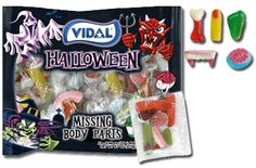 Vidal's Halloween Missing Gummy Body Parts include Gummi brains, teeth, bones, feet and fingers.  11 different bags with various Gummi body parts in each.