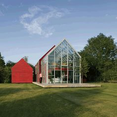 We are prepared to be radical the owner said... and they ended up with this crazy sliding house! A sleef that moves over the glass house allowing to interact with day& night, summer and winter... dRMM Architecture