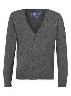 Grey V Neck Cardigan - Men's Cardigans & Sweaters  - Clothing