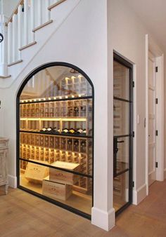 Under the stairwell, this wine closet strikes a stylish chord when it comes to k. Under the stairwell, this wine closet strikes a stylish chord when it comes to kitchen wall decor ideas Diy Casa, Bars For Home, Interior Design Living Room, Interior Design Ideas For Small Spaces, Wardrobe Interior Design, Room Interior, My Dream Home, New Homes, House Ideas