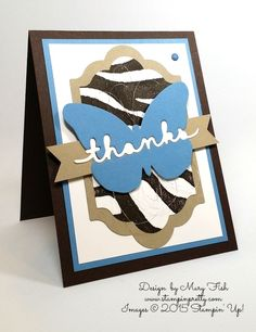 Stampin' Up! It's Wild Greetings Die Thank You Card Mary Fish Stamping Pretty Blog