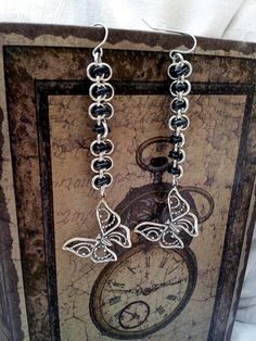 Sterling Butterfly Earrings  Black and by LittleCoveCreations, $26.00