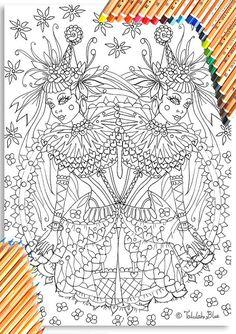 Circus Girl Twins Colouring Page 'The Circus Girl