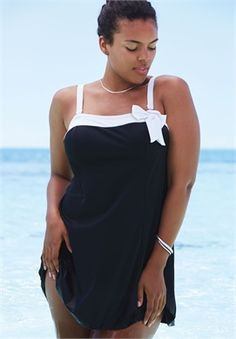 Plus Size Side Bow Swimdress
