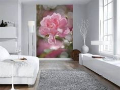 Stunning purple, pink and yellow flowers pop in this dreamy wall mural. With a watercolor style, this stunning floral mural has a contemporary feel. Watercolor Flora Wall Mural comes on 6 panels. Flower Mural, Flower Wall Decor, Living Comedor, Piece A Vivre, Home Wallpaper, Trends 2018, Wall Murals, Interior Design, Room Interior
