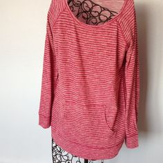 """a.n.a Maroon and white 3/4 sleeve pullover top Maroon color with white stripes. Front pouch pocket.  Pullover tee. Gently worn. Length is 23"""". Across front is 18"""". Width at hem is 34"""". a.n.a. Tops Tees - Long Sleeve"""