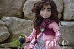 Björna, needle felted Art Doll by Woll Z Art, OOAK,