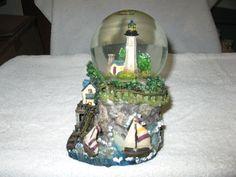 Music Box Figurine SnowDome Lighthouse Seagull Ocean Horn Sounds Scene SnowGlobe • $9.99 • PicClick