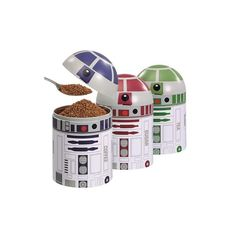 Organize your kitchen with droid-themed Star Wars storage containers. Outfit your Star Wars kitchen with this & more great nerdy housewares from Nerd Block. Star Wars Film, Star Wars Droiden, Geek Decor, Storage Sets, Jar Storage, Kitchen Storage, Storage Boxes, Star Wars Zimmer, Regalos Star Wars
