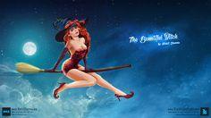 Conceptual Digital Painting - The Beautiful Witch Blacklist Studio, Beautiful Witch, Art Portfolio, Digital Art, Character Design, Photoshop, Wonder Woman, Superhero, Illustration