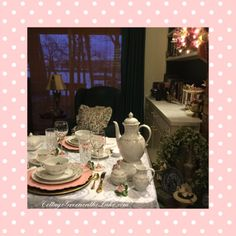 #Cottage Green on the Lake ... #lake #Cottage #twilight #tablescape