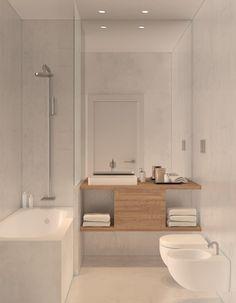 Residential building in Lisbon 2 : Casas de banho minimalistas por 'TIL the end studio Mais Kid Bathroom Decor, Bathroom Layout, Bathroom Furniture, Bathroom Interior, Bedroom Decor, Minimalist Bathroom, Minimalist Home, Modern Bathroom, Small Bathroom