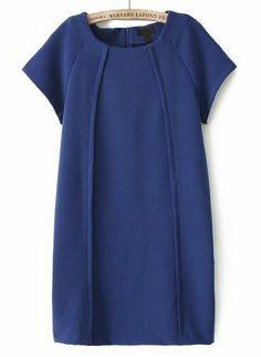 Vestido recto plisado manga corta-azul EUR€23.27