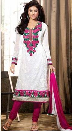 Luscious #OffWhite & #Pink #Chudidar #Kameez #India #Traditional #allMemoirs