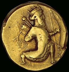 The Persian daric was a gold coin which, along with a similar silver coin, the siglos, represented the bimetallic monetary standard of the Achaemenid Empire, Ancient Persia Bullion Coins, Gold Bullion, Achaemenid, Coin Art, Gold And Silver Coins, Antique Coins, Rare Coins, Ancient Artifacts, Coin Collecting
