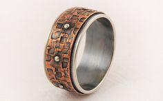 III Men's copper silver wedding band ring  men by GilleriJewel
