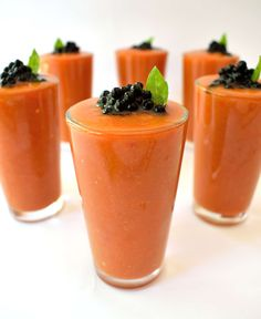 Gazpacho with balsamic caviar. Balsamic caviar is easy and looks cool on any dish. Serve these individual portions at your next party and impress your guests!